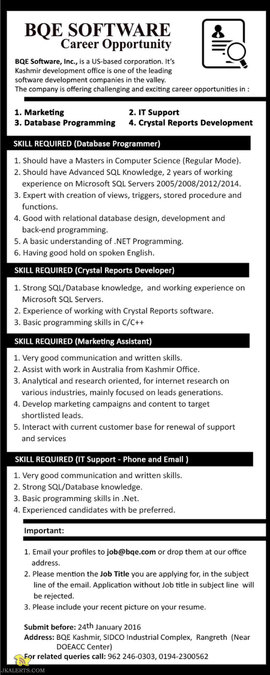 Jobs in BQE SOFTWARE Srinagar