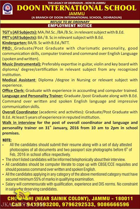 TGTs,PRTs, Kindergarten, PRO, Music,Medical Assistant, Clerk, Overall Coordinator JOBS IN DOON INTERNATIONAL SCHOOL
