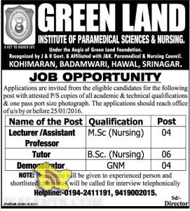 JOBS IN GREEN LAND INSTITUTE OF PARAMEDICAL SCIENCES & NURSING.