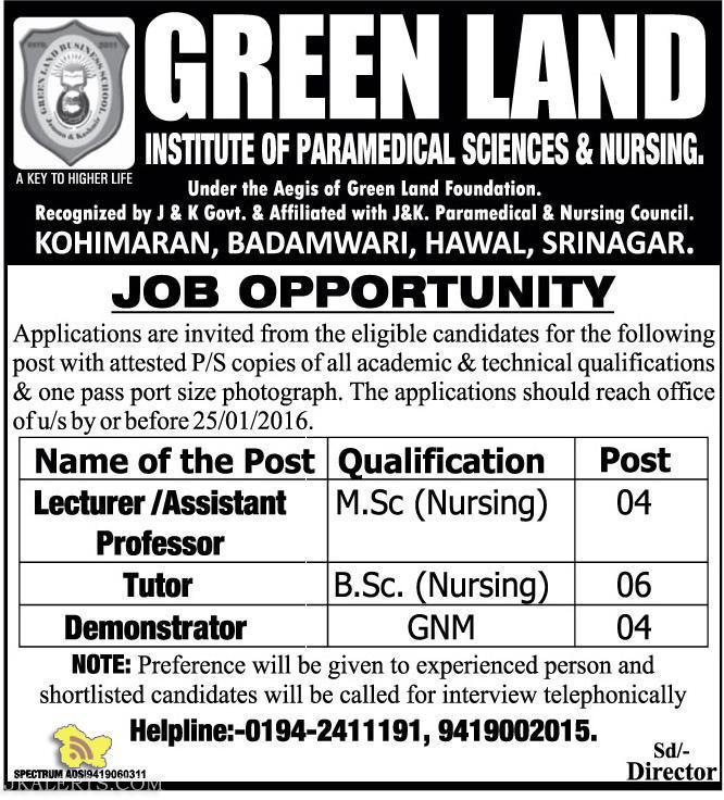 JOBS IN GREEN LAND INSTITUTE OF PARAMEDICAL SCIENCES & NURSING.