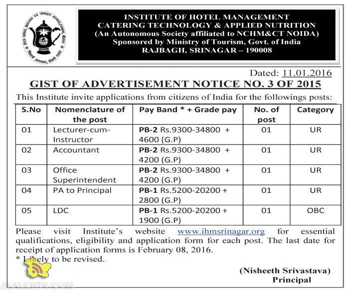 JOBS IN INSTITUTE OF HOTEL MANAGEMENT CATERING TECHNOLOGY & APPLIED NUTRITION SRINAGAR