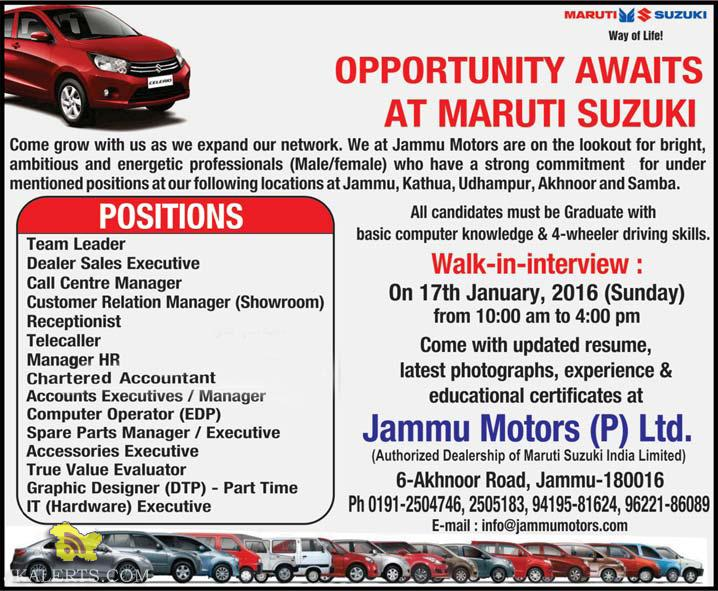JOBS IN MARUTI SUZUKI DEALERSHIP JAMMU MOTORS   JKALERTS   Jammu and