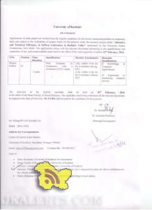 Jobs in Kashmir University Employment News 2016