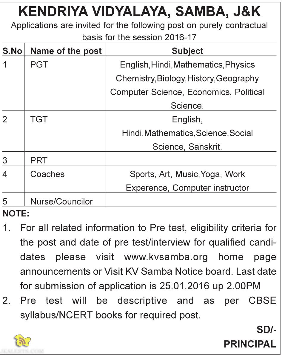 Teaching and Non teaching Jobs in KV Samba