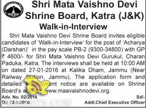 Shri Mata Vaishno Devi Shrine Board, Katra (J&K) Walk-in-Interview