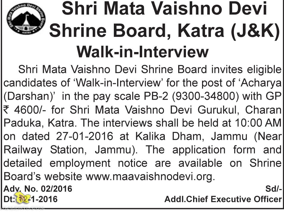 Shri Mata Vaishno Devi Shrine Board, Katra (J&K) Walk-in-Interview