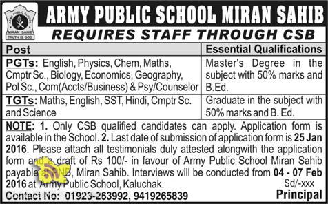 JOBS in ARMY PUBLIC SCHOOL MIRAN SAHIB