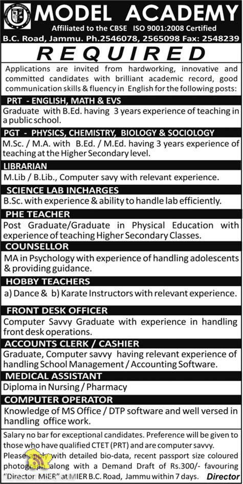 Jobs in Model Academy Jammu