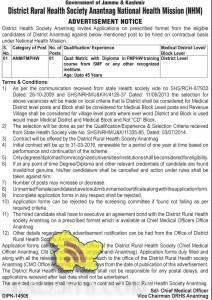 ANM/FMPHW Jobs in National Health Mission (NHM)