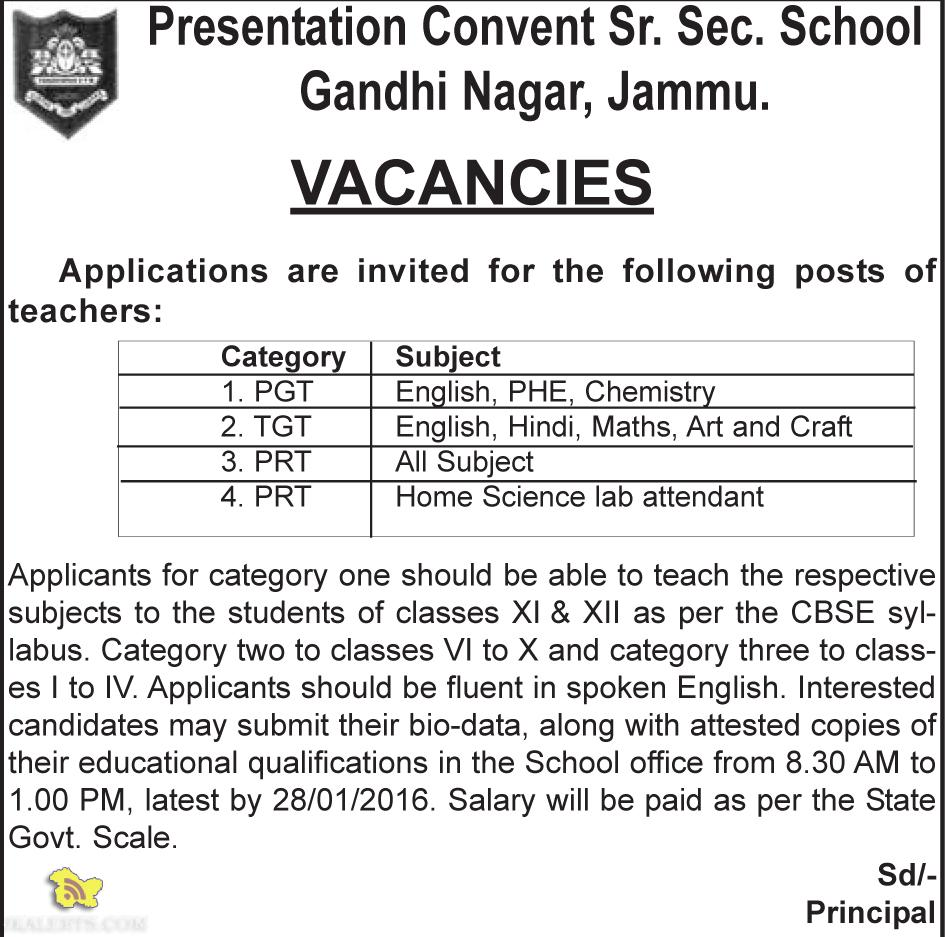 Jobs in Presentation Convent Sr. Sec. School Gandhi Nagar, Jammu