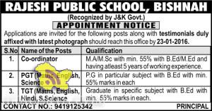 JOBS IN RAJESH PUBLIC SCHOOL, BISHNAH JAMMU