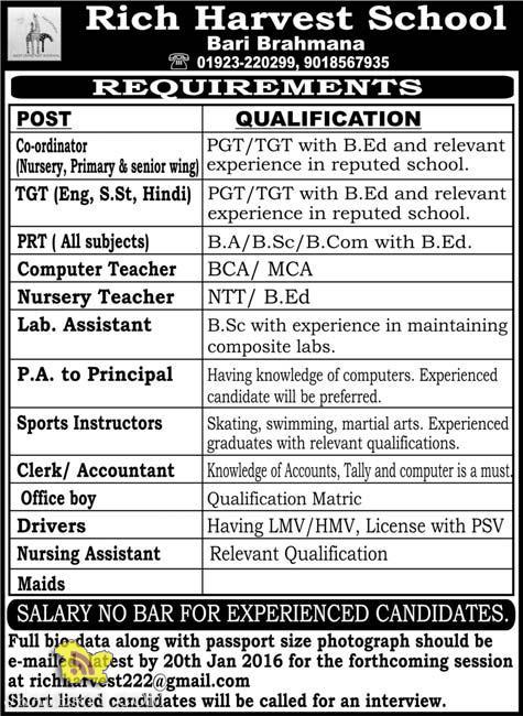 Jobs in Rich Harvest School Bari Brahmana Jammu