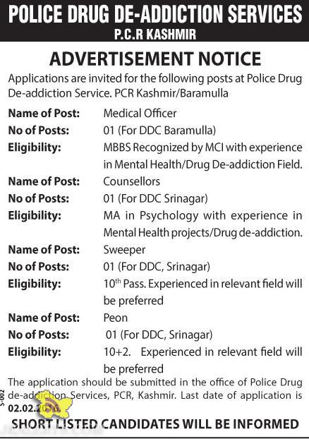 Jobs in Police Drug De-addiction Service. PCR Kashmir/Baramulla
