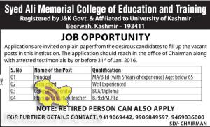 Jobs in Syed Ali Memorial College of Education and Training