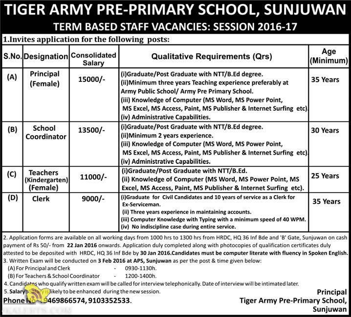 JOBS TIGER ARMY PRE-PRIMARY SCHOOL, SUNJUWAN