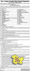 Academic arrangement in Government Degree Colleges of Kashmir Division 2016-17