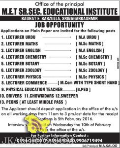 JOBS IN M.E.T HR.SEC. EDUCATIONAL INSTITUTION