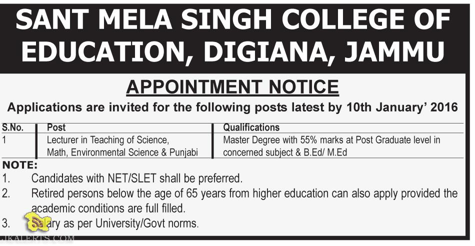 JOBS IN SANT MELA SINGH COLLEGE OF EDUCATION, DIGIANA