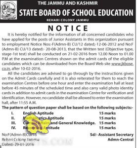 JKBOSE Notification for candidates who have applied for the posts of Junior Assistants