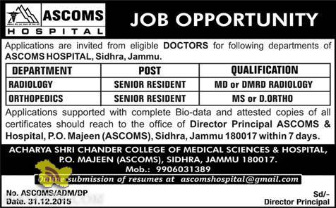 RADIOLOGY, ORTHOPEDICS JOBS IN ASCOMS HOSPITAL, Sidhra, Jammu