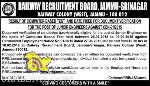 RAILWAY RECRUITMENT BOARD, JAMMU-SRINAGAR RESULT OF COMPUTER BASED TEST JUNIOR ENGINEERS