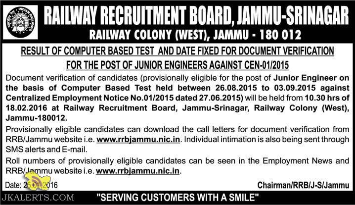 RAILWAY RECRUITMENT BOARD, JAMMU-SRINAGAR RESULT OF COMPUTER BASED TEST JUNIOR ENGINEERS