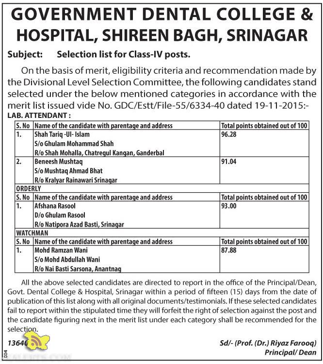 Selection list for Class-IV posts GOVERNMENT DENTAL COLLEGE & HOSPITAL SRINAGAR