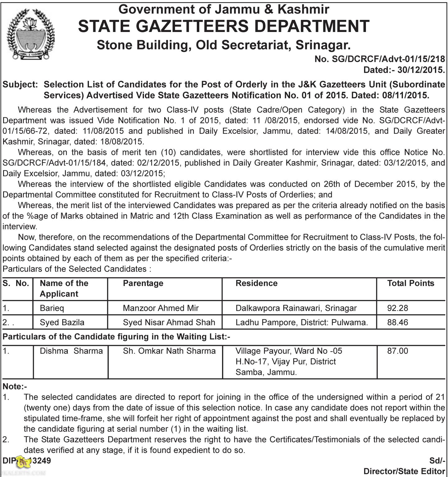Selection List of Candidates for the Post of Orderly in the J&K Gazetteers Unit