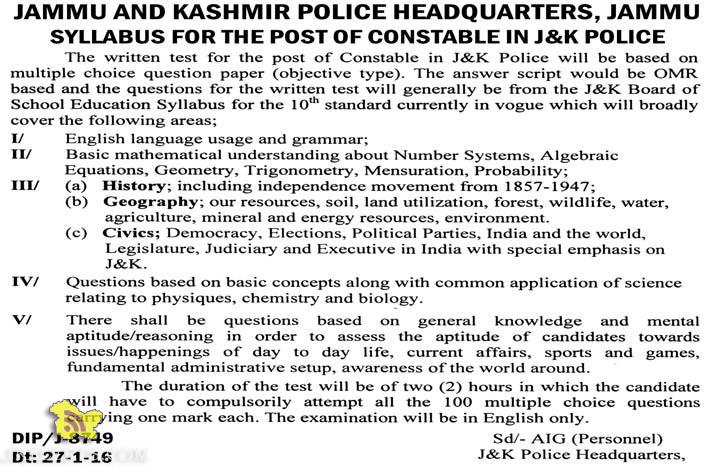 WRITTEN TEST SYLLABUS FOR THE POST OF CONSTABLE IN J&K POLICE