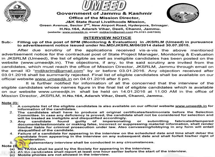 INTERVIEW NOTICE Filling up of SPM (Monitoring & Evaluation) in JKSRLM (Umeed)