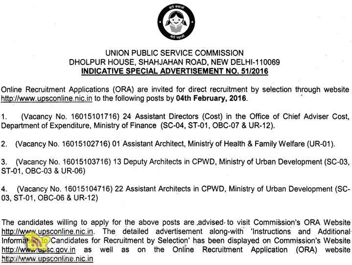 UPSC Recruitment 2016 for Assistant Directors, Assistant, Deputy Architect