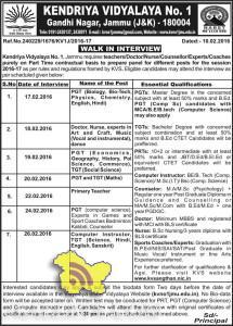 JOBS IN KENDRIYA VIDYALAYA No. 1 Gandhi Nagar, Jammu