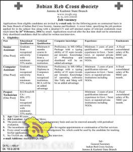 Senior Assistant, Computer Assistant, Project Technician Jobs in Red Cross Society