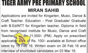 Teaching Jobs in Tiger army pre primary school Miran sahib Jammu