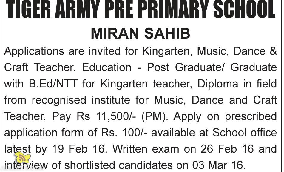 Teaching Jobs in Tiger army pre primary school Miran sahib Jammu