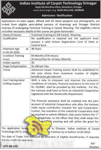 Technical Training on Silk Carpet Weaving in Indian Institute of Carpet Technology Srinagar