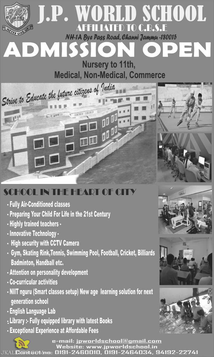 Admission open in JP world School jammu from Nursery to 12th