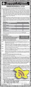 Kashmir university On-line Applications are invited from appearing in Entrance Test