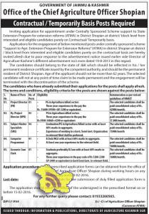 Project Director, Accounts-Cum Clerk, Computer Programmer Jobs in Office of the Chief Agriculture Officer Shopian
