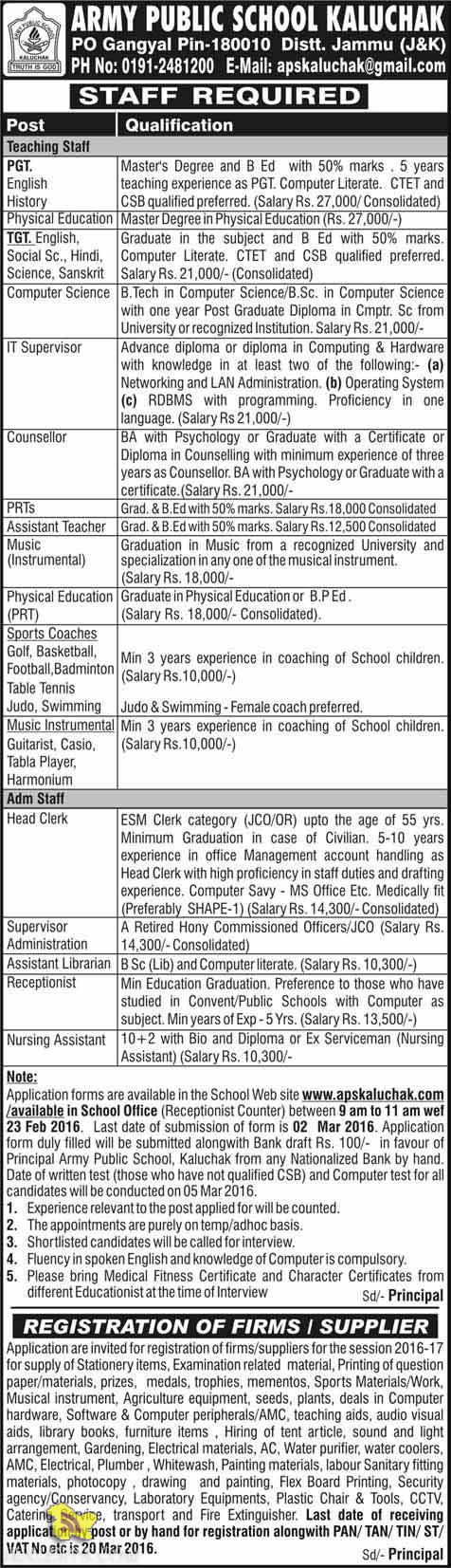 Teaching Non teaching jobs in Army public school kaluchak Employment News 2016