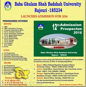 Admission open in Baba Ghulam Shah Badshah University Rajouri