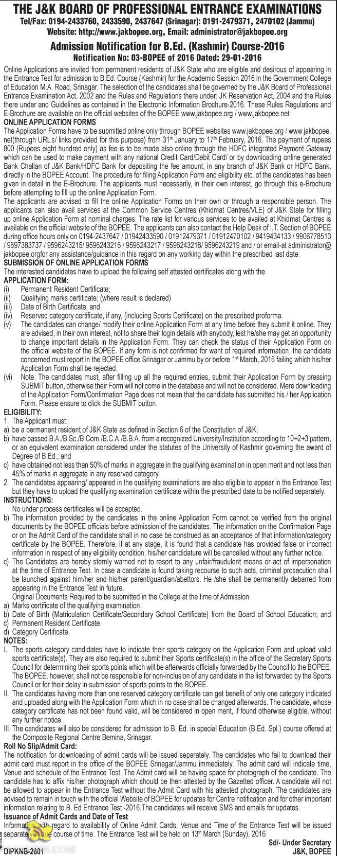 JKBOPEE Admission Notification for B.Ed. (Kashmir) Course-2016