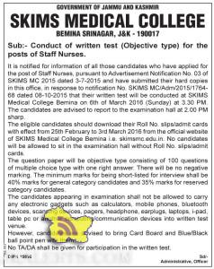 SKIMS Conduct of written test (Objective type) for the posts of Staff Nurses