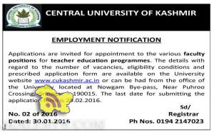 Jobs in Central university of kashmir 2016