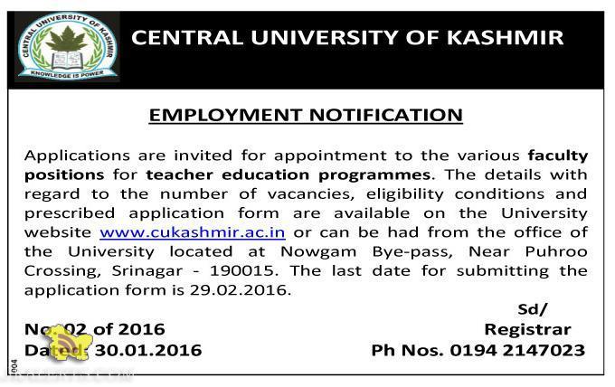 Jobs in Central university of kashmir 2016