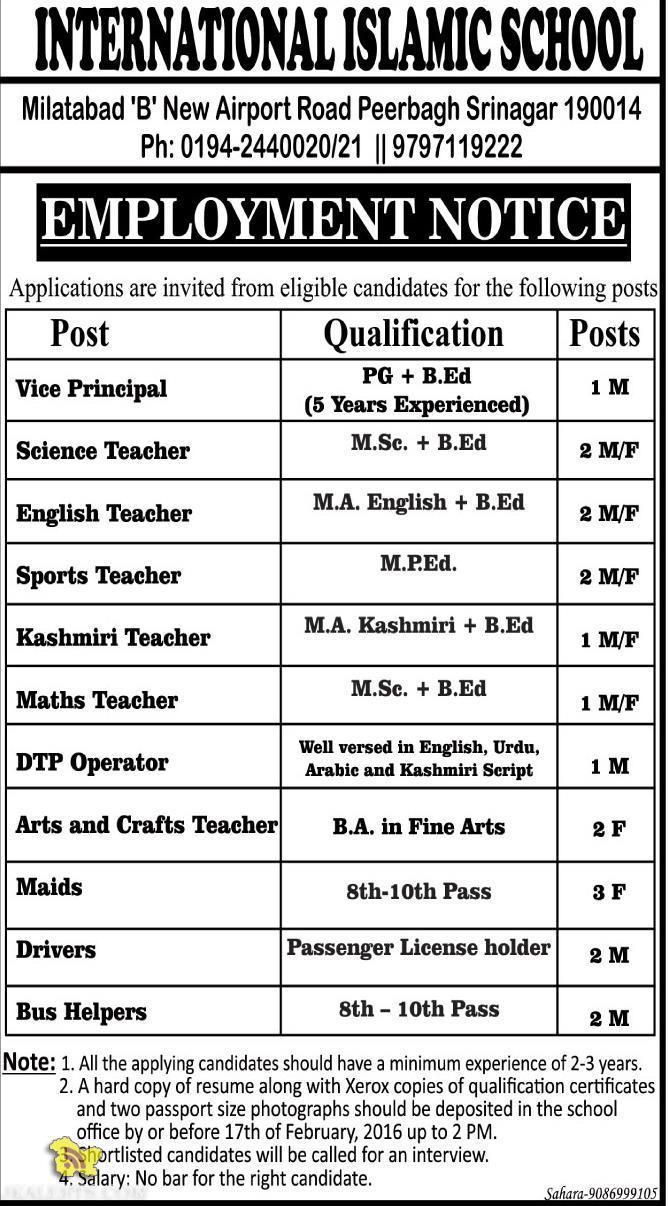 TEACHING NON TEACHING JOBS IN INTERNATIONAL ISLAMIC SCHOOL