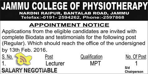 LECTURER JOBS IN JAMMU COLLEGE OF PHYSIOTHERAPY