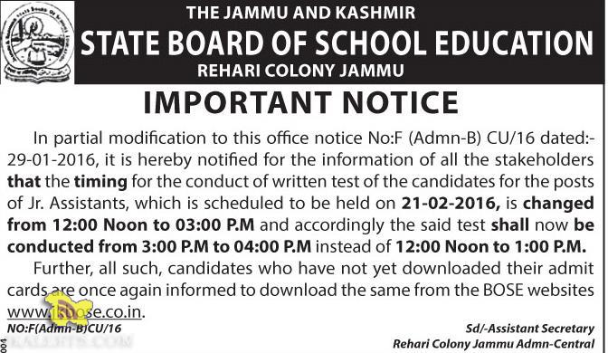 JKBOSE notification written test for the posts of Jr. Assistants,