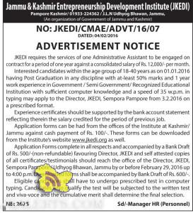 Administrative Assistant Jobs Jammu & Kashmir Entrepreneurship Development Institute (JKEDI)