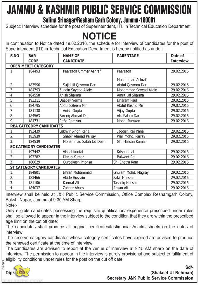 JKPSC Interview schedule for the post of Superintendent ITI in Technical Education Department.